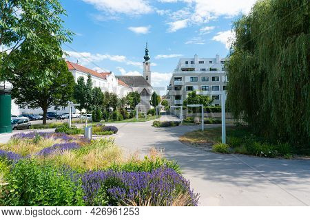 Tulln At The Danube River. Historic Landmark And Famous Tourist Destination In Lower Austria, Europe