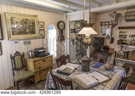 Martha's Vineyard, Ma, Usa - Sep 26, 2017: Inside The Carpenter Gothic Cottages With Victorian Style