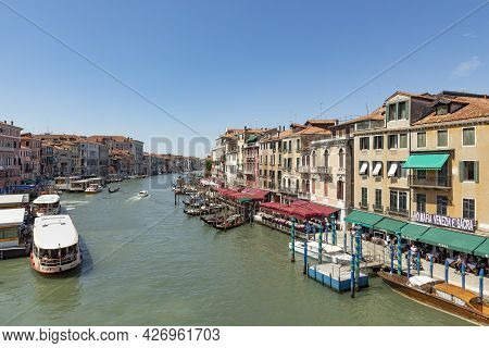 Venice, Italy - July 2, 2021: View From Rialto Bridge To Canale Grande In Venice, Italy.