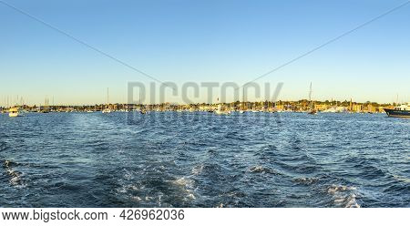 Newport, Usa - September 23, 2017:  View To Harbor Area With Sailing Boats And Yachts In Newport, Us