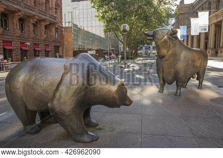 Frankfurt, Germany - June 13, 2021: The Bull And Bear Statues At The Frankfurt Stock Exchange. Frank