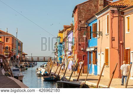 Venice, Italy - July 1, 2021: View Of The Colorful Houses In Burano, Venice, Italy. Burano Is An Isl