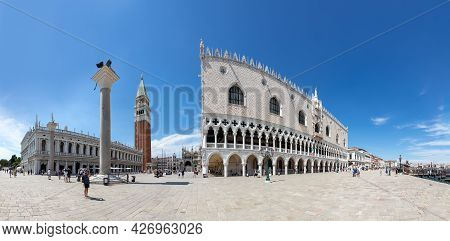 Venice, Italy - July 1, 2021: People Visit San Marco Square With San Marco Cathedral And Doges Palac