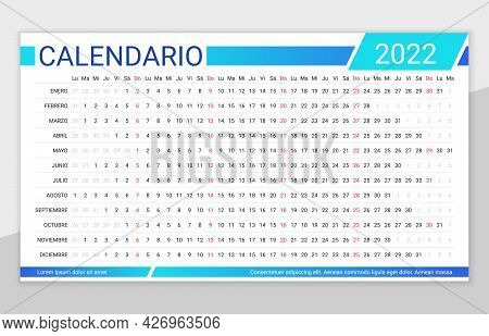 2022 Linear Spanish Calendar. Yearly Calender Planner Template For Year. Vector. Week Starts Monday.