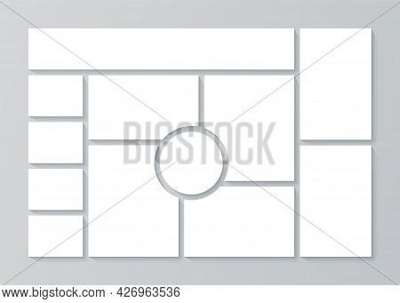 Collage Template. Moodboard Grid. Mood Board Banner. Montage Photo Images. Mosaic Pictures Album Lay