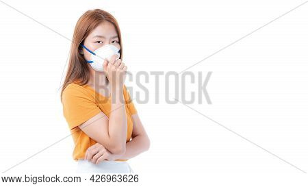 Asian girl wearing protective face mask for protection during the quarantine Coronavirus covid19 out