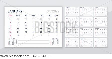 2022 Calendar. Table Calender Template. Monthly Planner Organizer. Week Starts Sunday. Vector. Sched