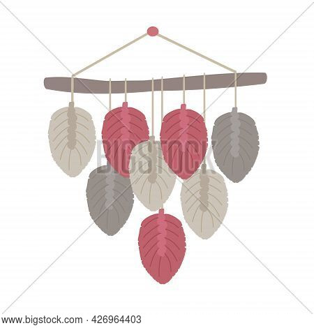 Macrame, Vector Illustration. Boho Style Cord Wall Decor. Handmade Knitted Wall Decoration. Diy Hand