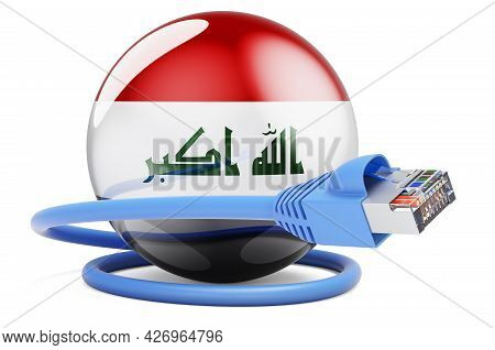Internet Connection In Iraq. Lan Cable With Iraqi Flag. 3d Rendering Isolated On White Background