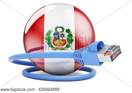 Internet Connection In Peru. Lan Cable With Peruvian Flag. 3d Rendering Isolated On White Background