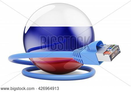 Internet Connection In Russia. Lan Cable With Russian Flag. 3d Rendering Isolated On White Backgroun