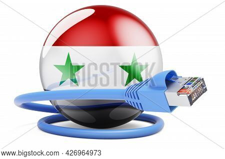Internet Connection In Syria. Lan Cable With Syrian Flag. 3d Rendering Isolated On White Background