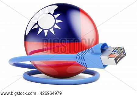 Internet Connection In Taiwan. Lan Cable With Taiwanese Flag. 3d Rendering Isolated On White Backgro
