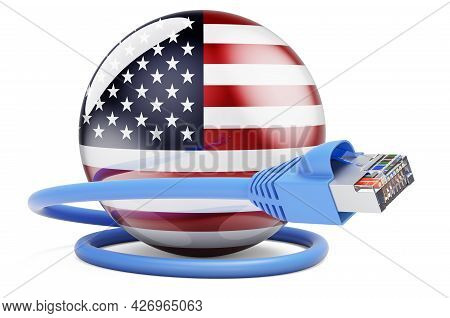 Internet Connection In The Usa. Lan Cable With The United States Flag. 3d Rendering Isolated On Whit