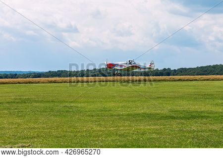 Brno, Czech Republic - July 4, 2021:  Piper Pa-25 Pawnee Aircraft Used By The
