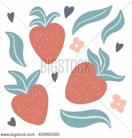 Set Of Cute Hand Drawn Strawberries, Leaves And Flowers In Simple, Childish, Scandinavian Style. Vec