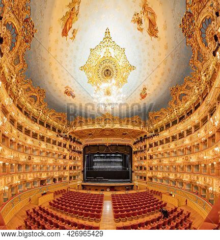 Venice, Italy - July 7, 2021: Inside La Felice Theater In Venice. This Historic Theater Is The Place