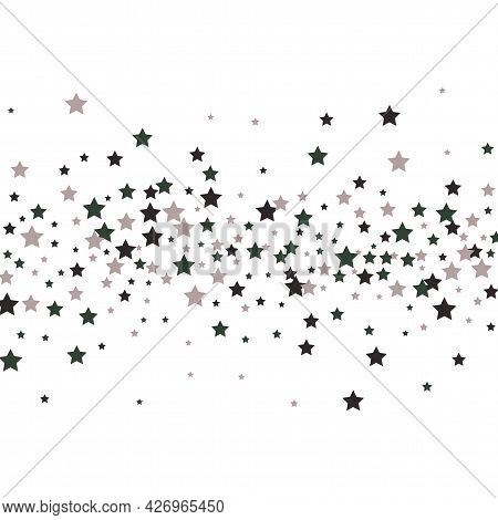 Modern Silver Glitter Falling Stars Vector Template For Birthday Party, Wedding Invitation Card, Fly