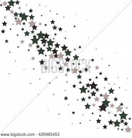 Gray Stars Scatter Charming Holiday Vector Background. Twinkle Luminous Star Sparkles Magical Illust