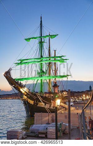 Venice, Italy - July 7, 2021: The Italian Navy Ship Palinuro Anchors At The Pier Of Venice At Arsena
