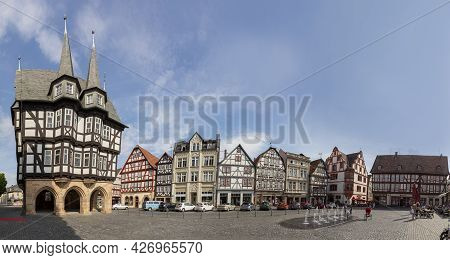 Alsfeld, Germany - June 25, 2021: Famous Town Hall And Half Timbered Historic Houses At Central Squa