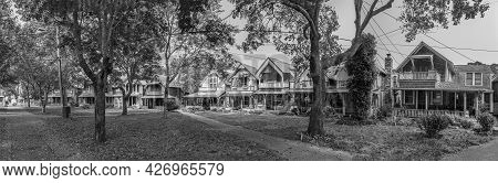 Martha's Vineyard, Usa - September 26, 2017: Carpenters Cottages Called Gingerbread Houses  On Lake