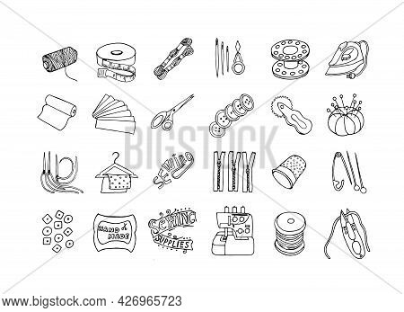 A Set Of Tools For Needlework In The Doodling Style. Sewing Accessories, Vector Eps10.