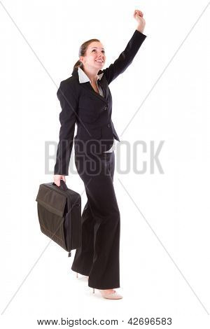 Young business woman with suitcase over white background
