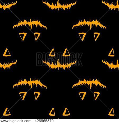 Vector Seamless Pattern Of Jack's Pumpkin Face In Orange Color On A Black Background. A Pattern Of T