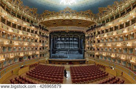Venice, Italy July 7, 2021: Interior Of La Fenice Theatre. Teatro La Fenice,