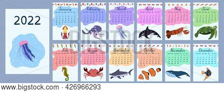 Calendar 2022 With Cartoon Sea Animals With Cover. Calendar Template. Week Starts On Sunday. Kid Gra