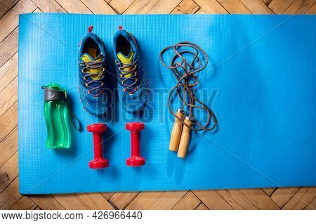 Cardio Set. Cardio As A Lifestyle. Items For Cardio Training. Top View.