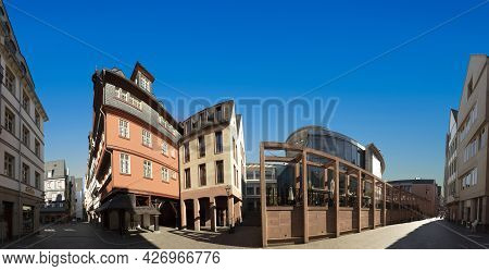 Frankfurt, Germany - June 13, 2021: View To The Modern Arc Hitecture In Frankfurt In The Old Town Wi
