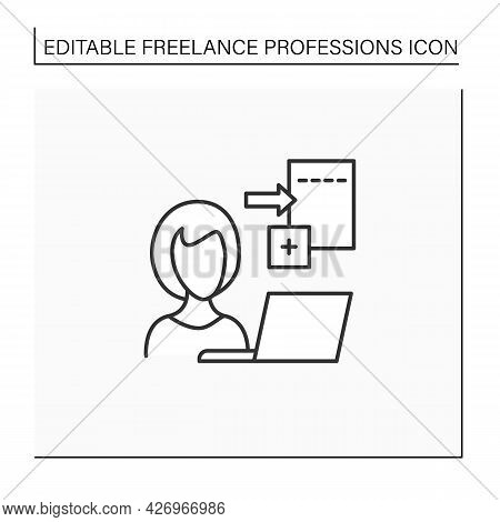 Data Entry Jobs Line Icon.handle Different Types Of Electronic Data And Operating Devices.enter Info