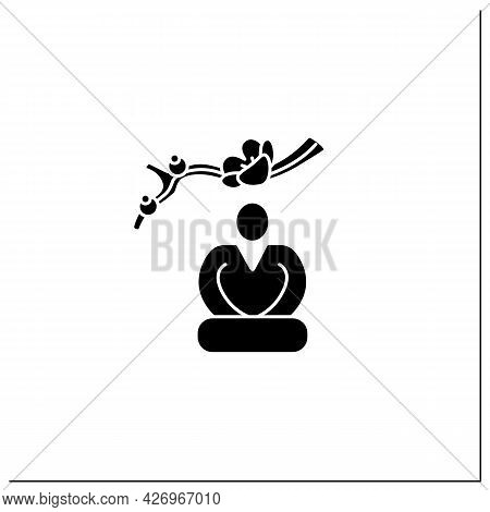 Seiza Position Glyph Icon.traditional Japanese Pose.sitting With Legs Bent, Knees Forward, Buttocks