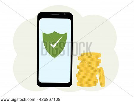 Antivirus Software In The Phone. There Are Many Coins Nearby