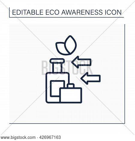 Eco Friendly Tourism Line Icon. Sustainable Trip. Optimal Use Of Environmental Resources. Eco Awaren