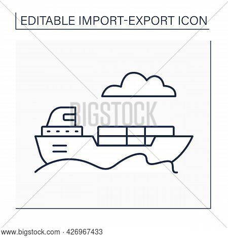 Freight Line Icon. Goods, Cargo, Or Lading Transported For Pay. Shipped By Ship. Import And Export C