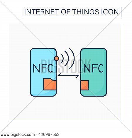 Nfc Technology Line Icon. Near-field Communication. Easy Speed Wireless Data Exchange. Digital Smart