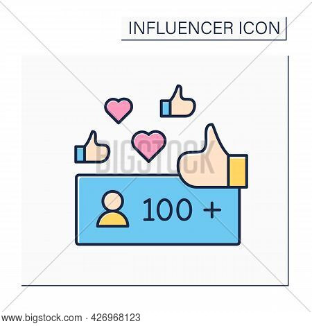 Unpopular Blogger Color Icon.followers. No Name. Low Influence On Audiences. Blogging Concept. Isola