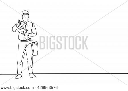 Single One Line Drawing Of Postman Standing In A Hat, Bag, Uniform, Holding An Envelope, And With A