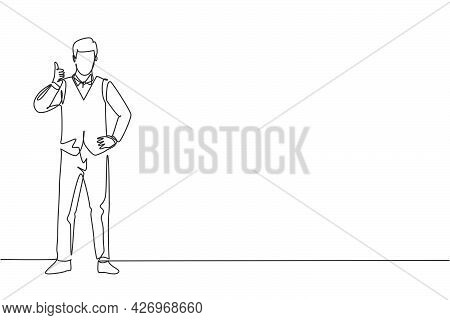 Continuous One Line Drawing Flight Attendant Stands In A Uniform With Thumbs-up Gesture Prepare At T