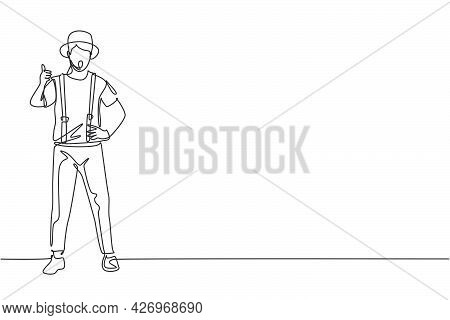 Single One Line Drawing Of Mime Artist Stands With A Thumbs-up Gesture And White Face Make-up Makes