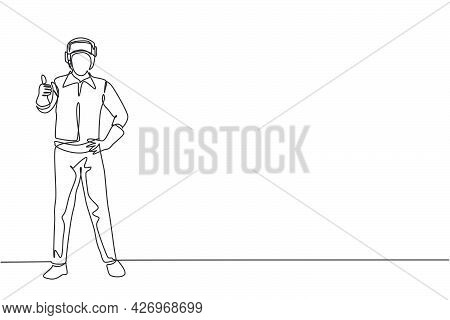Single Continuous Line Drawing The Welder Stands With A Thumbs-up Gesture And The Face Shield Is Rem