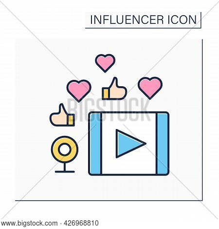 Video Content Color Icon. Create And Share Video Material. High Influence On Audiences. Blogging Con