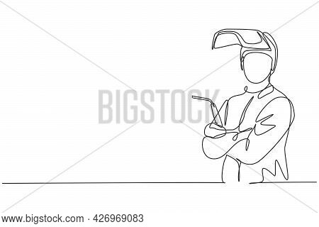 Continuous One Line Drawing Of Young Male Welder Wearing Mask Posing Crossed Arms On Chest. Professi