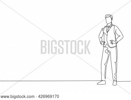 Single One Line Drawing Of Young Male Flight Attendant Pose Standing At Airplane. Professional Work