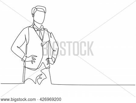 Single One Line Drawing Of Young Male Flight Attendant Wearing Uniform Neatly. Professional Work Pro