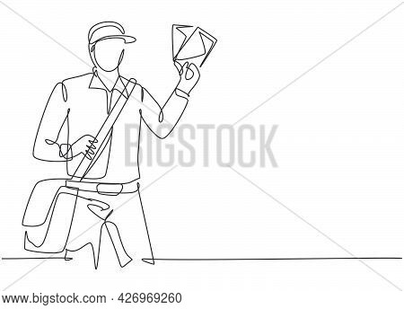 Single Continuous Line Drawing Of Young Postman Holding Envelopes To Be Sent To Customer. Profession