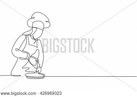Single One Line Drawing Of Young Happy Female Chef Sparkling Salt Pepper Into Beef Steak On Grill Pa
